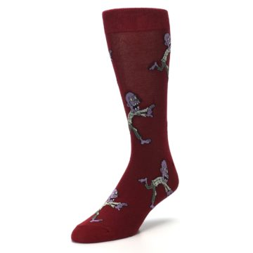 Image of Burgundy Zombies Men's Dress Sock (side-2-front-08)