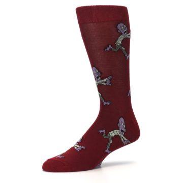 Image of Burgundy Zombies Men's Dress Sock (side-2-10)