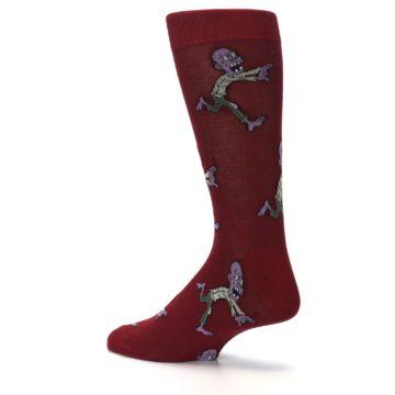 Image of Burgundy Zombies Men's Dress Sock (side-2-back-14)