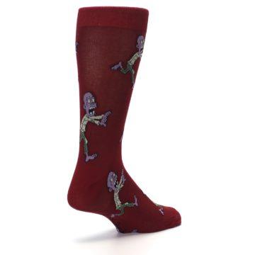 Image of Burgundy Zombies Men's Dress Sock (side-1-back-22)