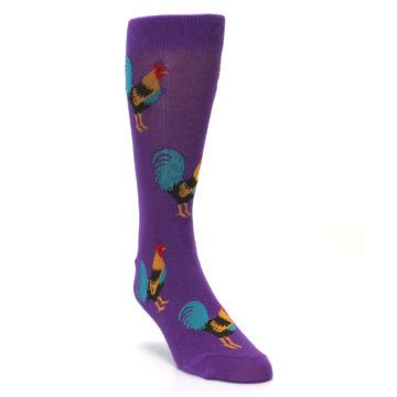 Image of Purple Green Yellow Roosters Men's Dress Sock (side-1-front-02)