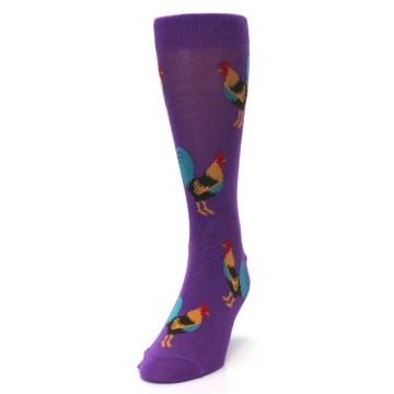 Image of Purple Green Yellow Roosters Men's Dress Sock (side-2-front-06)