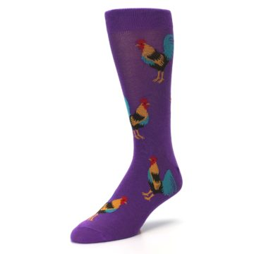 Image of Purple Green Yellow Roosters Men's Dress Sock (side-2-front-08)