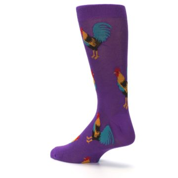 Image of Purple Green Yellow Roosters Men's Dress Sock (side-2-back-14)