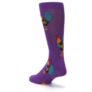 Image of Purple Green Yellow Roosters Men's Dress Sock (side-2-back-15)