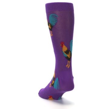 Image of Purple Green Yellow Roosters Men's Dress Sock (side-2-back-16)
