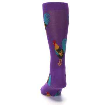 Image of Purple Green Yellow Roosters Men's Dress Sock (back-17)
