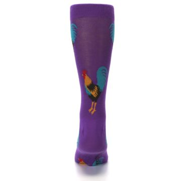 Image of Purple Green Yellow Roosters Men's Dress Sock (back-18)