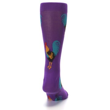 Image of Purple Green Yellow Roosters Men's Dress Sock (back-19)