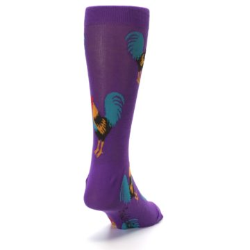 Image of Purple Green Yellow Roosters Men's Dress Sock (side-1-back-20)
