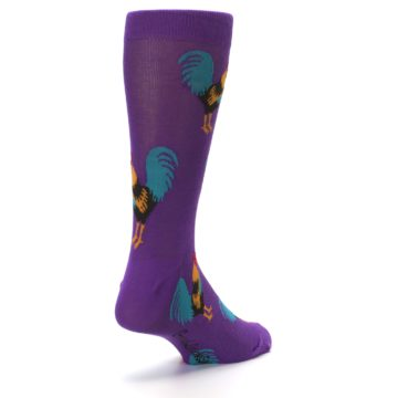 Image of Purple Green Yellow Roosters Men's Dress Sock (side-1-back-21)