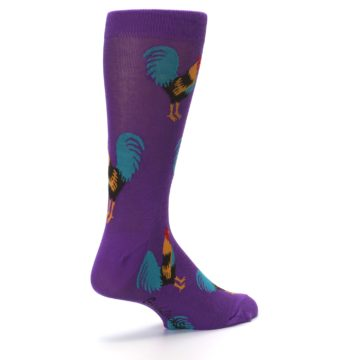 Image of Purple Green Yellow Roosters Men's Dress Sock (side-1-back-22)