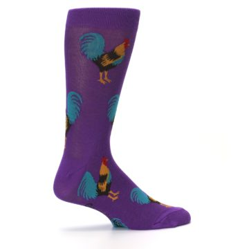 Image of Purple Green Yellow Roosters Men's Dress Sock (side-1-24)