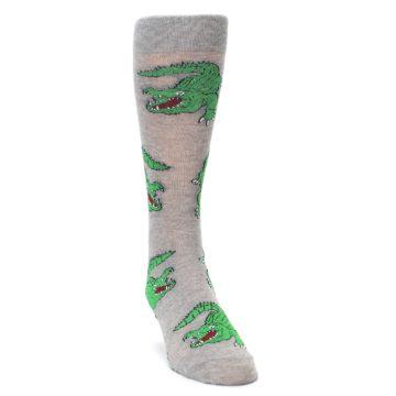 Image of Grey Green Alligators Men's Dress Sock (side-1-front-03)