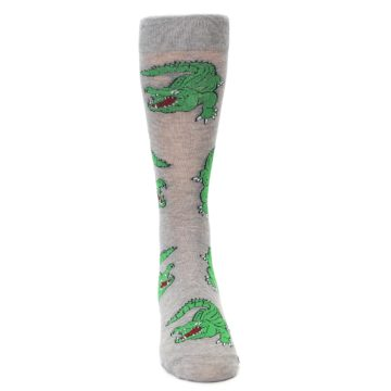 Image of Grey Green Alligators Men's Dress Sock (front-04)