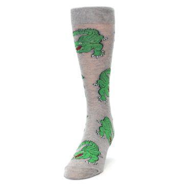 Image of Grey Green Alligators Men's Dress Sock (side-2-front-06)
