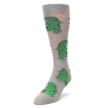 Image of Grey Green Alligators Men's Dress Sock (side-2-front-07)
