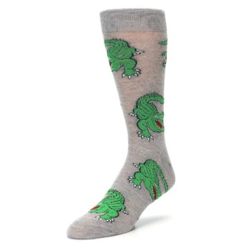Image of Grey Green Alligators Men's Dress Sock (side-2-front-08)