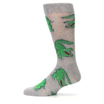 Image of Grey Green Alligators Men's Dress Sock (side-2-12)