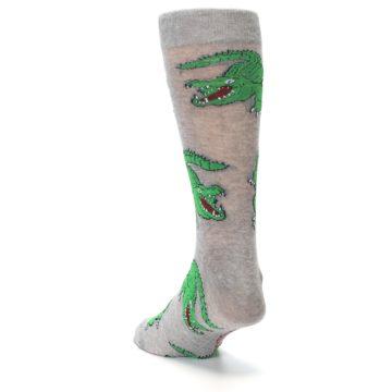 Image of Grey Green Alligators Men's Dress Sock (side-2-back-16)