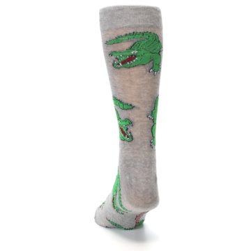 Image of Grey Green Alligators Men's Dress Sock (back-17)