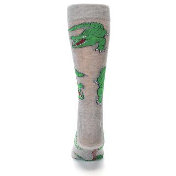 Image of Grey Green Alligators Men's Dress Sock (back-18)