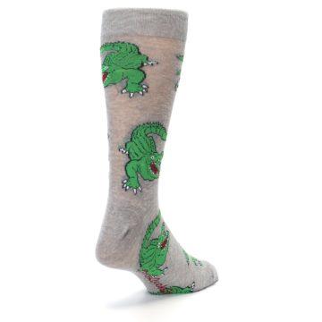 Image of Grey Green Alligators Men's Dress Sock (side-1-back-21)