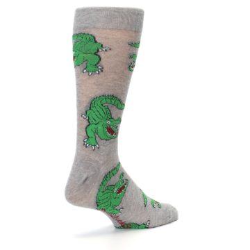 Image of Grey Green Alligators Men's Dress Sock (side-1-back-22)