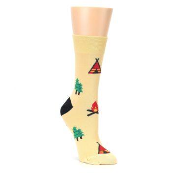 Tan Camping Fire Womens Dress Socks Good Luck Sock