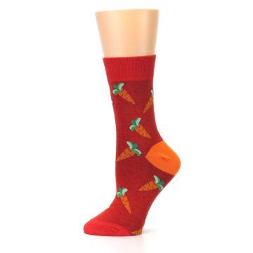 Image of Red Orange Carrots Women's Dress Sock (side-2-11)