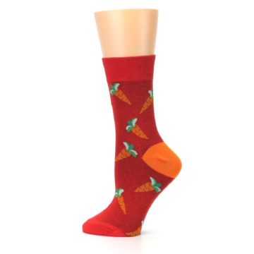 Image of Red Orange Carrots Women's Dress Sock (side-2-12)