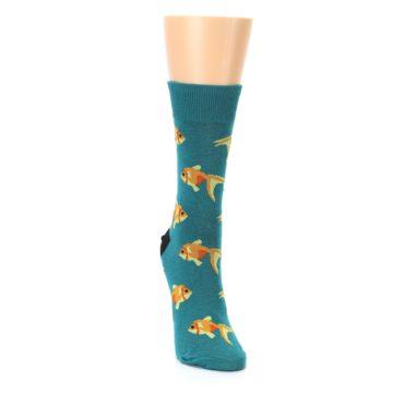 Image of Teal Goldfish Women's Dress Sock (side-1-front-03)