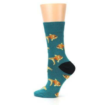Image of Teal Goldfish Women's Dress Sock (side-2-12)