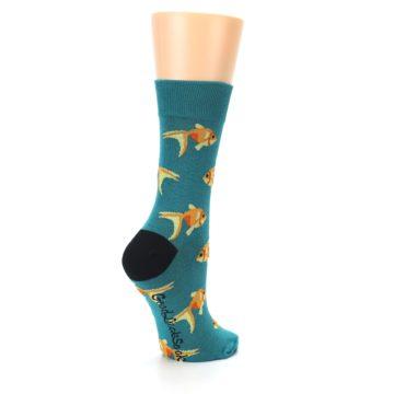 Image of Teal Goldfish Women's Dress Sock (side-1-back-22)