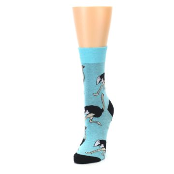 Image of Blue Black Ostriches Women's Dress Sock (side-2-front-07)