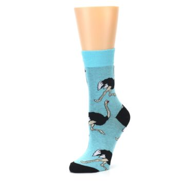 Image of Blue Black Ostriches Women's Dress Sock (side-2-09)
