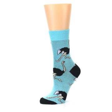 Image of Blue Black Ostriches Women's Dress Sock (side-2-10)