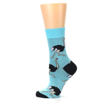 Image of Blue Black Ostriches Women's Dress Sock (side-2-12)