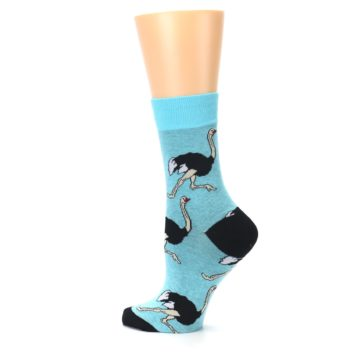 Image of Blue Black Ostriches Women's Dress Sock (side-2-13)