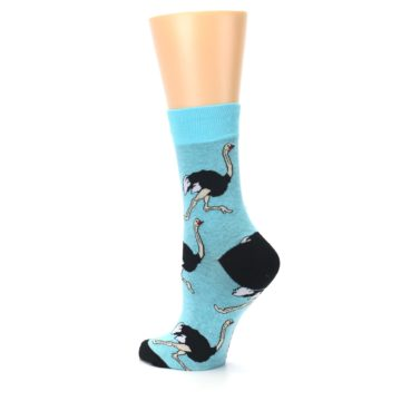 Image of Blue Black Ostriches Women's Dress Sock (side-2-back-14)