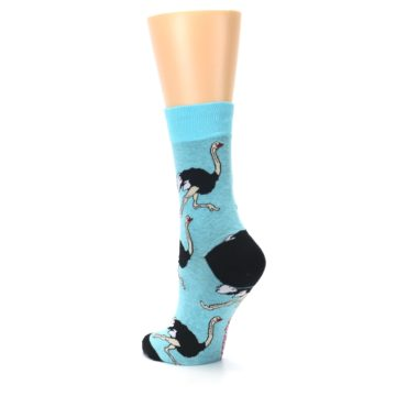 Image of Blue Black Ostriches Women's Dress Sock (side-2-back-15)