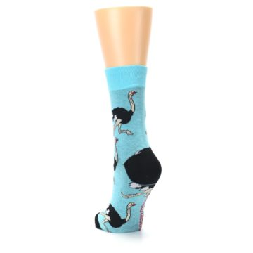 Image of Blue Black Ostriches Women's Dress Sock (side-2-back-16)