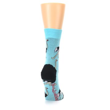 Image of Blue Black Ostriches Women's Dress Sock (side-1-back-20)