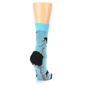 Image of Blue Black Ostriches Women's Dress Sock (side-1-back-21)