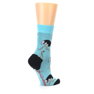Image of Blue Black Ostriches Women's Dress Sock (side-1-23)
