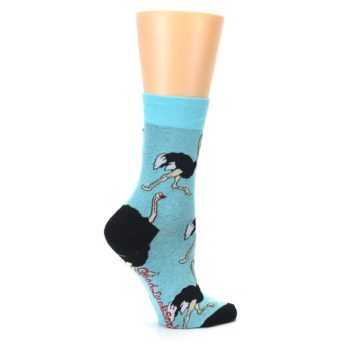 Image of Blue Black Ostriches Women's Dress Sock (side-1-24)