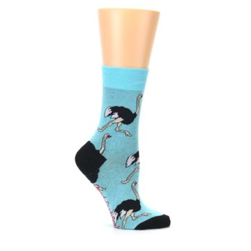 Image of Blue Black Ostriches Women's Dress Sock (side-1-25)