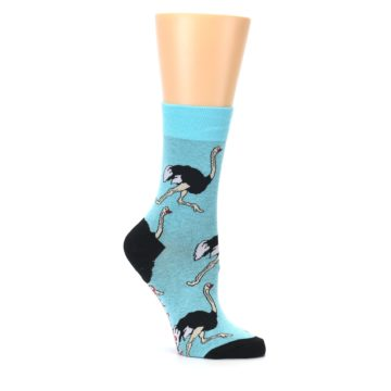 Image of Blue Black Ostriches Women's Dress Sock (side-1-26)