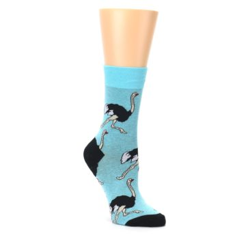 Image of Blue Black Ostriches Women's Dress Sock (side-1-27)