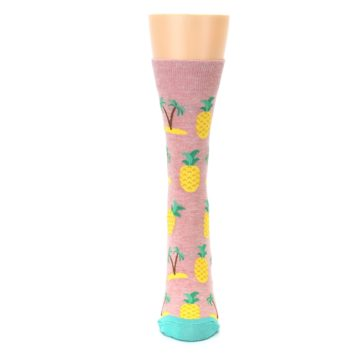 Image of Light Pink Tropical Pineapples Women's Dress Sock (front-05)